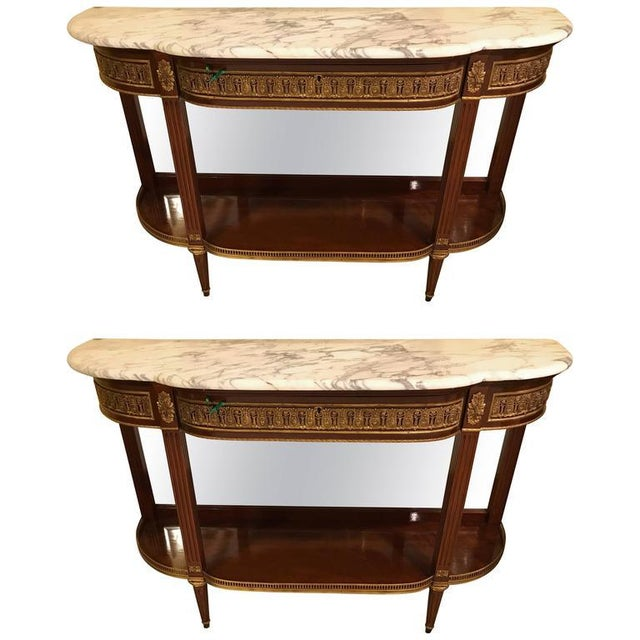 Jansen Style Marble-Top Bronze Mounted Consoles - a Pair For Sale - Image 11 of 12