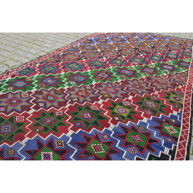 Islamic Handwoven Turkish Kilim Rug. Traditional Oushak Area Rug Braided Kilim - 6′ X 13′5″ For Sale - Image 3 of 12