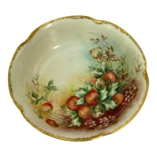 Antique Bavarian Strawberry Hand Painted Gilded Bowl For Sale