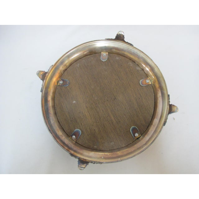 Antique Silverplate Round Mirror Tray With High Relief Cherub Floral Design For Sale In Portland, OR - Image 6 of 7