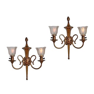 Pair of Bronze Gas-electric Torch Sconces from Portland Hotel Circa 1905