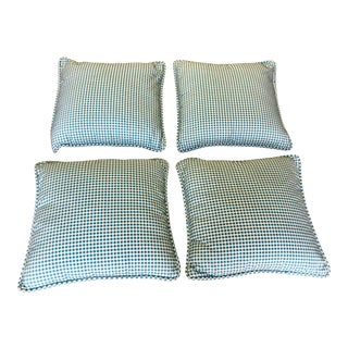 Schumacher Turquoise and White Pillows - Set of 4 For Sale