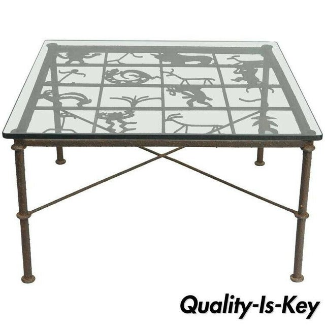 Metal and Glass Square Brutalist Coffee Table With Native American Glyph Figures For Sale - Image 11 of 11