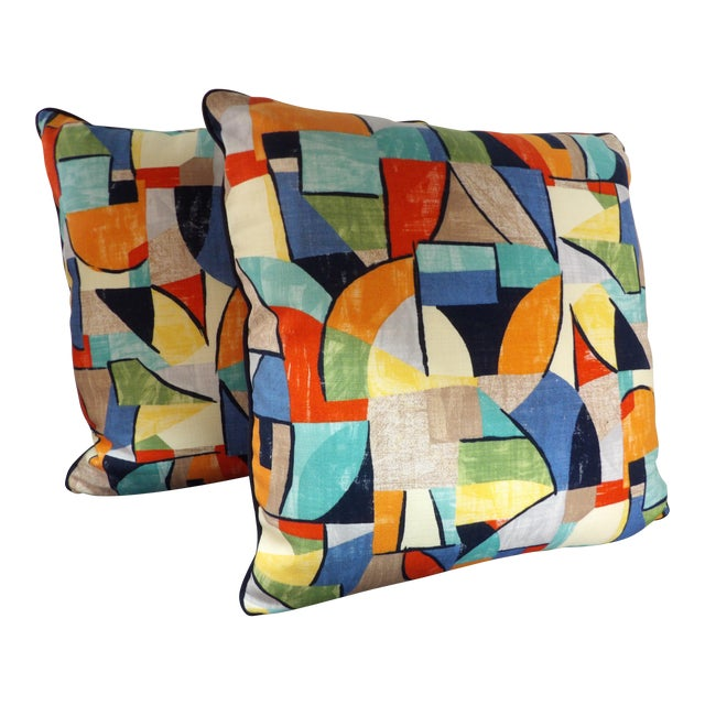 Colorful Abstract Custom Made Pillows - a Pair For Sale
