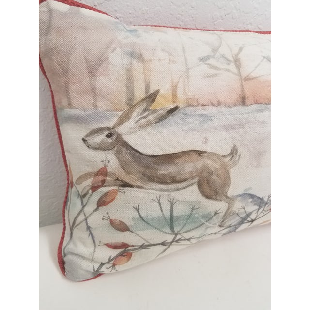 English Two Rabbits in Winter Bolster Pillow - Made in Wales, United Kingdom For Sale - Image 3 of 11