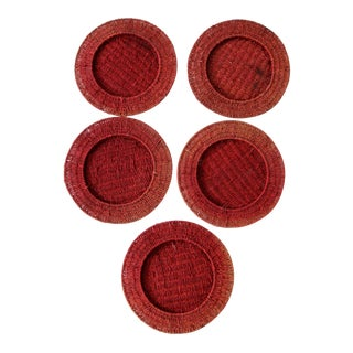 Vintage Red Woven Charger Plates - Set of 5 For Sale