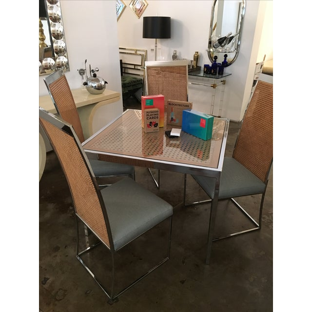 Mid Century Modern Milo Baughman Chrome, Glass and Wicker Game / Dining Table - Image 4 of 11