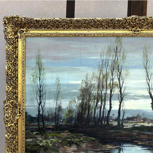 Antique Framed Oil Painting on Canvas Signed T. Moens For Sale - Image 4 of 11