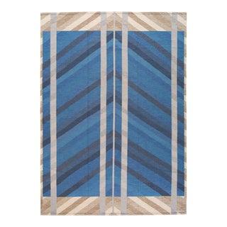 Modern Scandinavian Style Kilim Flatweave Wool Rug For Sale