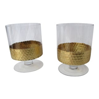 Kim Seybert Style Pedestal Glass Candle Holders With Gold Edging - a Pair For Sale