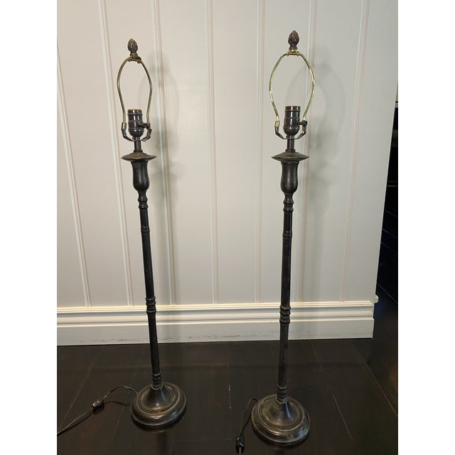 Metal Bronze Table Lamps - a Pair For Sale - Image 7 of 7