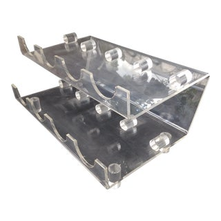 Vintage Mid-Century Lucite Wine Holder For Sale