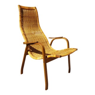 Yngve Ekström for DUX Scandinavian Mid-Century Modern Kurva Caned Lounge Chair