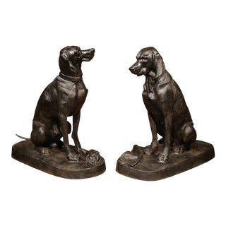 Lifesize French Iron Hunting Labradors Retrievers after Jacquemart - a Pair