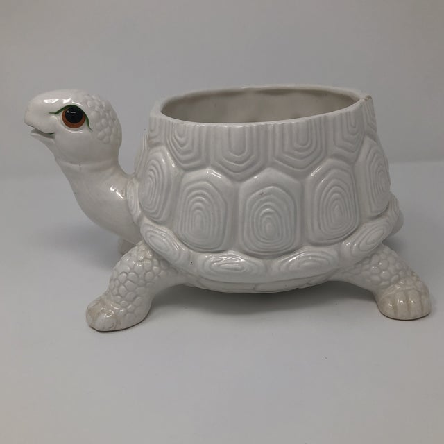 Fitz and Floyd Vintage Fitz and Floyd Ceramic Turtle Planter Vase For Sale - Image 4 of 9