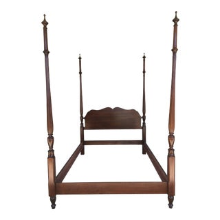 Pennsylvania House Cherry Chippendale Style Double Reeded Poster Bed For Sale
