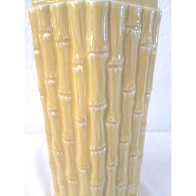 Midcentury Yellow Bamboo Design Table Lamp - Image 5 of 7