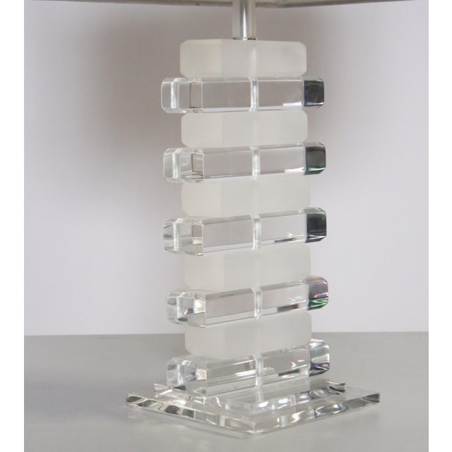 Stacked Lucite Table Lamp For Sale In Chicago - Image 6 of 8