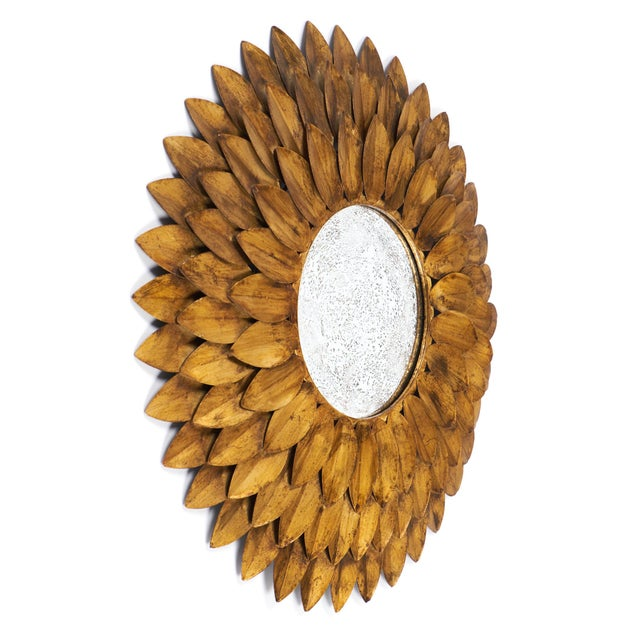 French Vintage Gilt Metal Sunflower Mirror - Image 3 of 8