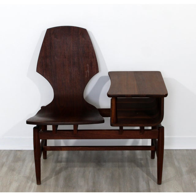 For your consideration is a gorgeous, original, Plycraft bentwood walnut wood telephone chair table, circa the 1950s. In...