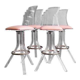 Vintage Mid Century Lucite Bar Stools- Set of 4 For Sale