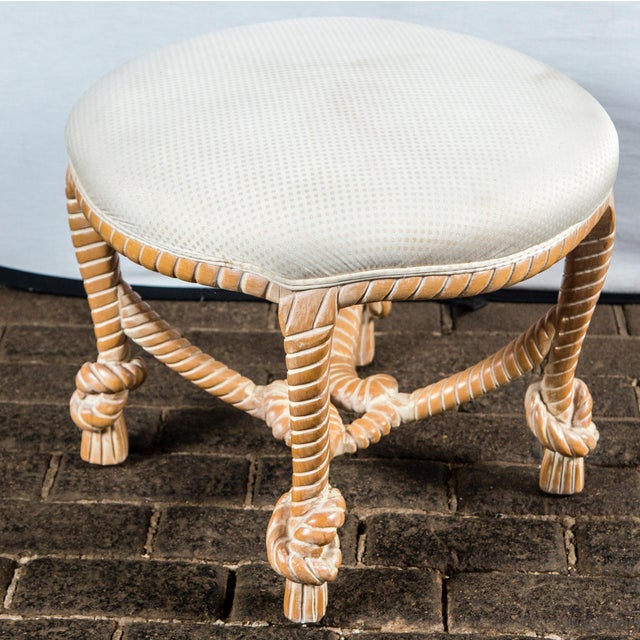 """French Napoleon III style, 1960s made in Italy carved wood faux rope round bench with upholstered seat. Large scale """"roping""""."""