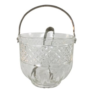 1960s Patterned Glass Ice Bucket & Tongs - A Pair