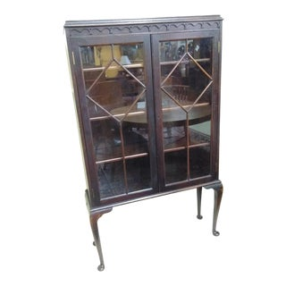 Antique Queen Anne Style China Cabinet/ Display Cabinet For Sale