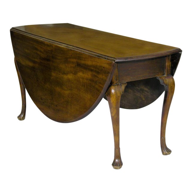 Mahogany Queen Anne Oval Dropleaf Table with Trifid Feet - Image 1 of 5