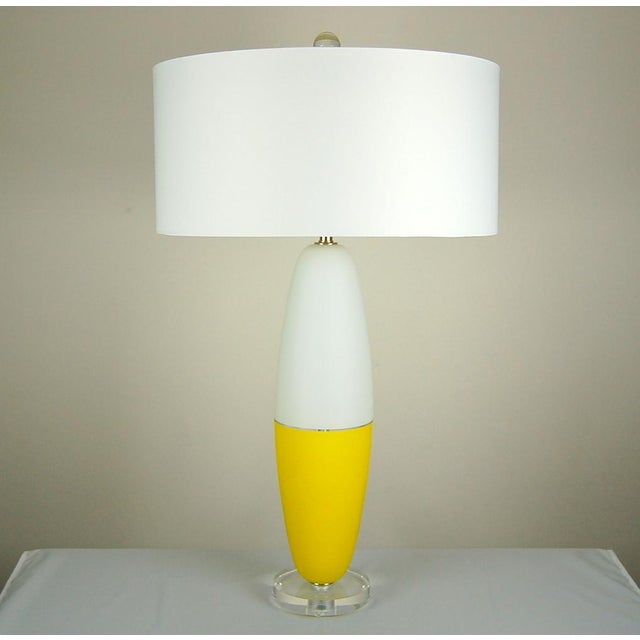 Italian Vintage Murano Glass Capsule Table Lamps in Yellow/White For Sale - Image 3 of 11