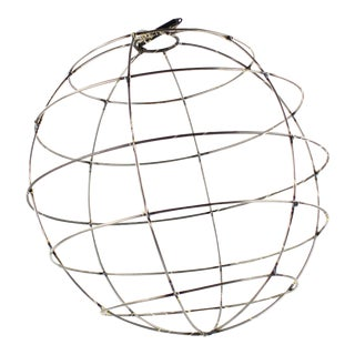 Vintage Iron Sphere Pendant Light For Sale