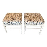Image of Vintage Palm Beach White Lacquered Faux Bamboo Upholstered Stools Benches Ottomans -A Pair For Sale
