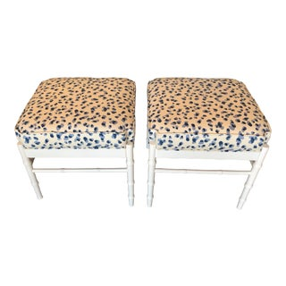 Vintage Palm Beach White Lacquered Faux Bamboo Upholstered Stools Benches Ottomans -A Pair For Sale
