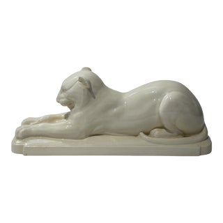 Art Deco 1930's White Panther Sculpture For Sale