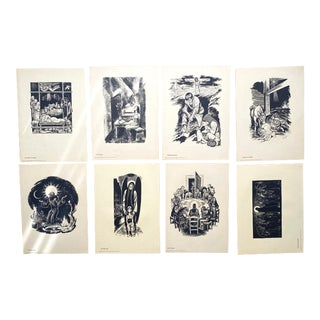"""1960s Fritz Eichenberg Portfolio No. 2: Prints From the Drawings Appearing in """"The Catholic Worker"""" - Set of 8 For Sale"""