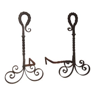 Antique Turned Wrought Iron Andirons - a Pair For Sale