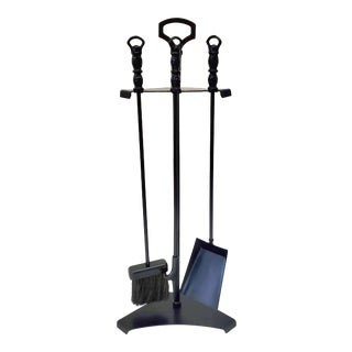 1980s Fireplace Tool Set Rustic Farmhouse Wrought Iron For Sale