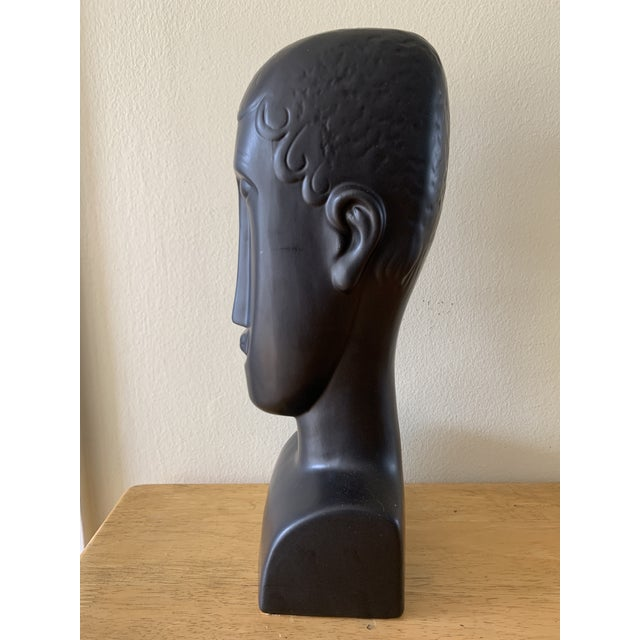 Figurative Elongated Ceramic Head Bust Decor Head For Sale - Image 3 of 13