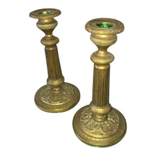 C1810 Antique French First Empire Dore Bronze Candle Holders - a Pair For Sale