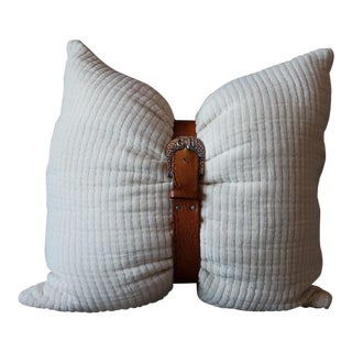 Quilted Cotton Belted Pillow Cover For Sale