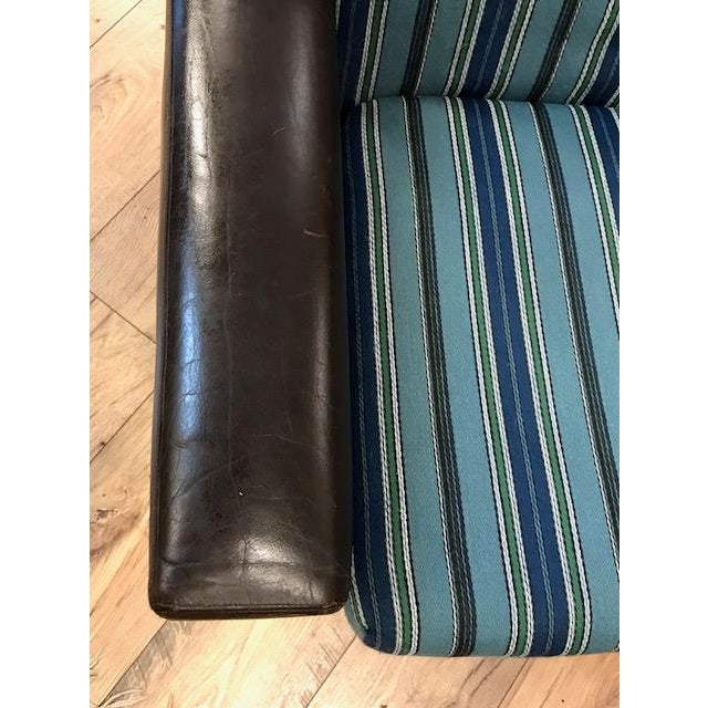 Animal Skin Mid Century Leather Chair With Striped Canvas For Sale - Image 7 of 9