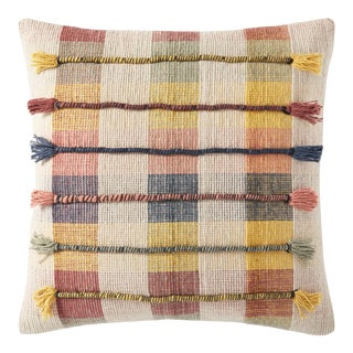 """Loloi Hand Woven Textured Plaid Pillow, Yellow / Blush / Beige / Grey - 18"""" x 18"""" Cover with Down Pillow For Sale"""