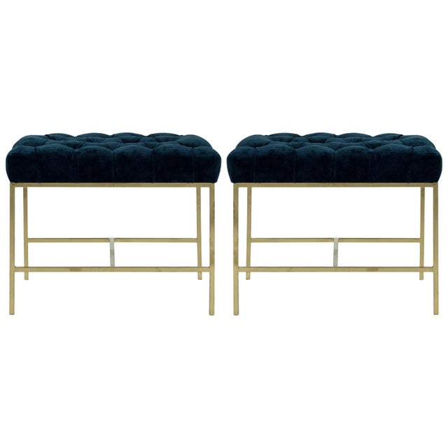 1950s Modern Tufted Brushed Brass Stools - a Pair For Sale - Image 12 of 12