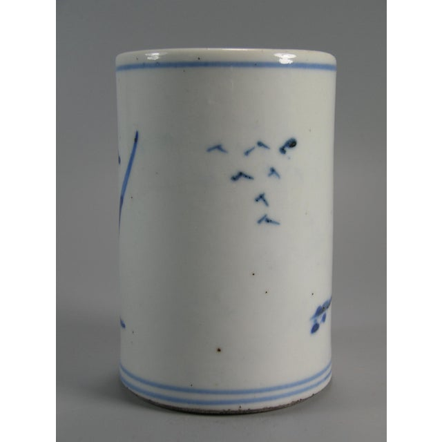 Asian Antique 19th Century Chinese Small Blue and White Brush Pot/Bitong For Sale - Image 3 of 11