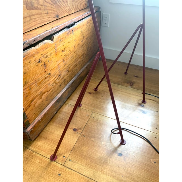 Greta Grossman Mid-Century Modern Red Grasshopper Floor Lamps - Sold Separately For Sale - Image 4 of 9