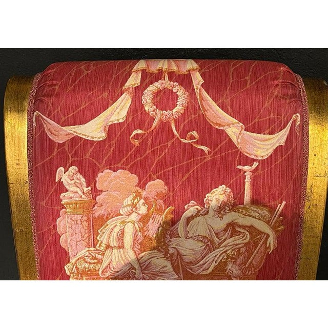 1960s Ten Neoclassical Dining Chairs in Fine Versace Style Fabric For Sale - Image 5 of 12