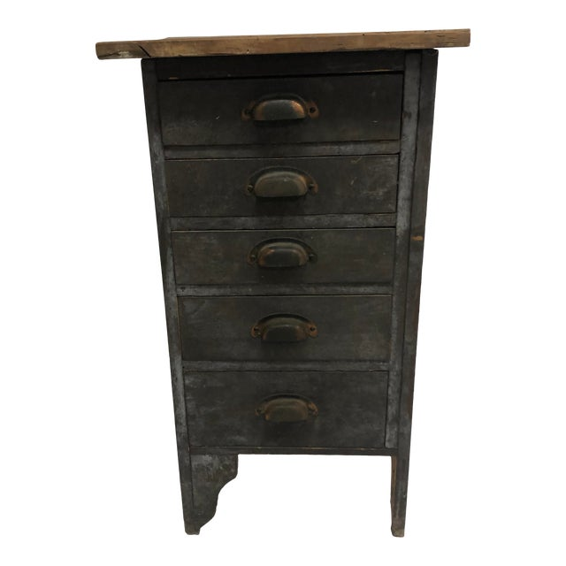 Vintage Industrial Wood 5 Drawer Vertical File Cabinet For Sale