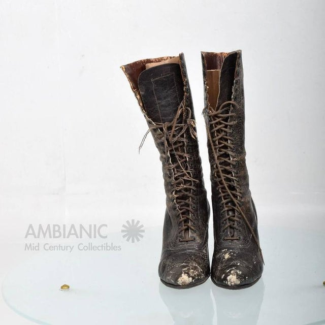 For your consideration a pair of antique leather boots for ladies. Leather showing signs of obvious wear. The laces are...