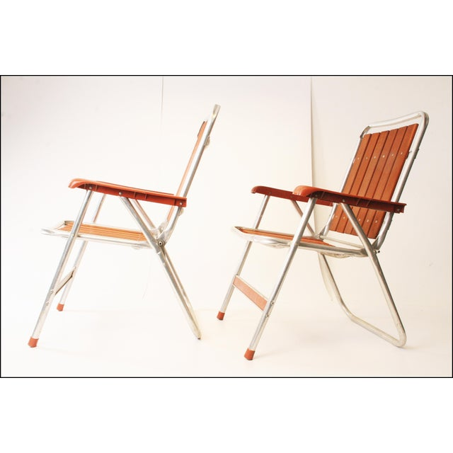 Adirondack Vintage Redwood & Aluminum Folding Patio Chairs - A Pair For Sale - Image 3 of 11