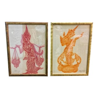 Vintage Chinese Silk Screens on Silk - A Pair For Sale
